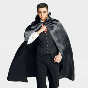 Hyde and Eek Adult Satin Black Vampire Halloween Cape Accessory One Size