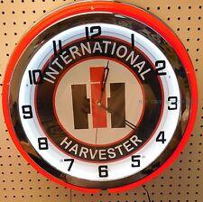 "18"" INTERNATIONAL Harvester IH Sign Double Neon Clock"