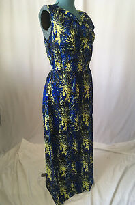 Womens Dress sleeveless Blue Yellow Black cotton 10 12 14 16 NEW Maxi Long