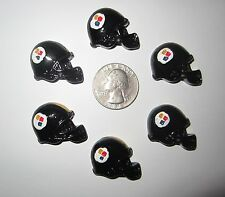 6 NEW PITTSBURGH STEELERS FOOTBALL HELMETS FLAT BACK RESINS CABOCHONS*SHIPS FREE