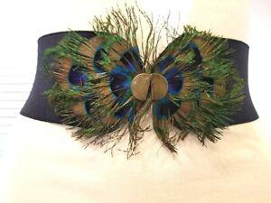 Women Fashion Blue Elastic Waist Belt With Peacock Design Size S M