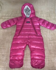 Patagonia Hi-Loft Down Sweater Pink Baby Bunting Snow Suit Months - 3 Months