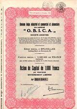 Omnium belge industriel et commercial et alimentaire en abrège O.B.I.C.A. obica