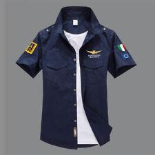 Men Casual Air Force Shirt Military Army Shirt Short Sleeve Dress Shirt M-3XL