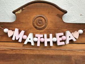 """MATHEA"" NAMENSKETTE KINDERZIMMER ROSA HOLZBUCHSTABEN TAUFE GEBURT BABY NAME"