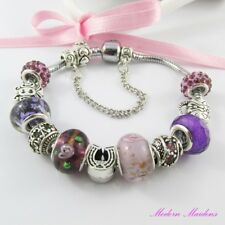 Pretty Purple European Snake Chain Bracelet 11 Beads & Charms 20cm Safety Chain