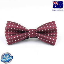Quality Formal Wedding Party Burgundy Maroon White Polka Dot Men Bow Tie Bowtie