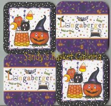 4 Longaberger Happy Autumn Halloween Candy Corn Pumpkin Hat Bat Cat Coasters