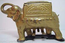 Old Cast Iron Elephant Cigarette Dispenser 'pat pend' tail roller orig gold blk