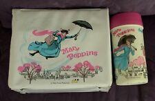 Walt Disney Mary Poppins Vinyl Lunch Box With Thermos C. 1973 Aladdin