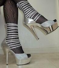 "NEW PLEASER size 11 Shiny Silver Strappy Rhinestone Platform Shoes 6"" High Heels"