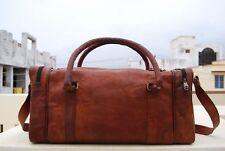 Men's Vintage Brown Large Leather Gym Weekend Luggage Travel Duffle Bag Handmade