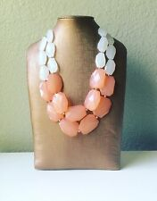 Coral White Statement Chunky Necklace Bubble Silver Jewelry Big Bead Fashion