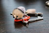 AuPra 2 Mouse Keyrings    Fur Faux Pom Pom Keychain   Key Ring Children Gift