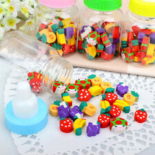 25 PCS/Mini Pencil Eraser With Bottle Cartoon Animal Number Fruit For Children