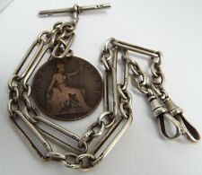 LOVELY ENGLISH ANTIQUE VICTORIAN 1898 SOLID STERLING SILVER DOUBLE ALBERT CHAIN