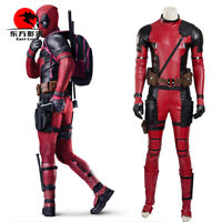 DFYM Deadpool Cosplay Wade Costume Red Leather Jumpsuit Mask Halloween Party