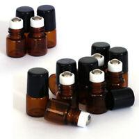 20X Amber Empty Glass Roll on Bottles Vials Metal Roller Ball Essential Oil 1ml