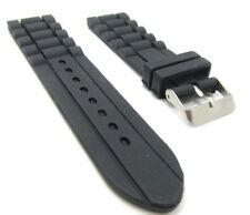 22mm Black Chain Link Silicone Rubber Sport Diver Traveler Watch Band Strap