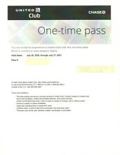 One (1) UA United Airlines Club One-Time Passes F/S & E-Delivery EXP 7/27/2021