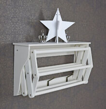 Vintage towel holder extendable contry styl shelf antique white three hooks new