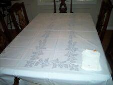 Vintage NOS NWT White Tablecloth and 12 Napkin Set Botanical Leaf Pattern