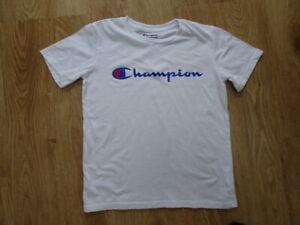 CHAMPION boys white print t shirt top MEDIUM AGE 9- 10 YEARS