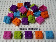 Lego Lot 2x2 BRICKS Purple, Dark Pink, Orange, Lime & Medium Blue Friends Blocks