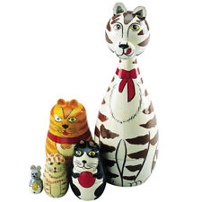 """Cleo & Friends"" Nesting Cats-Hand Painted Wooden Nesting Dolls Matryoshka"