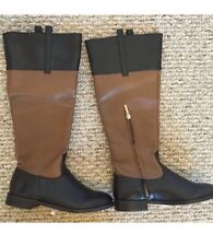 VS Victoria's Secret Women's Zipper Riding Boot. Black Beige/Hazelnut/Brown. 5B