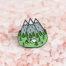 Camping mountains wanderlust enamel pin badge