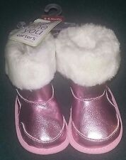 Carter's Just One You 0-6 Months Baby Girl Shiny Pink Boots/Shoes With Faux Fur