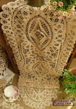 """SHABBY~Vintage Princess Lace Table Runner Dresser Scarf Ecru French Long 52"""""""
