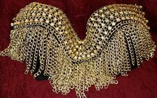 Gold Tribal Gothic Goth Burlesque Belly Dance Dancing Metal Chain Bra Top Sz 36