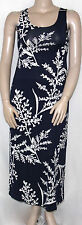 Sunny Leigh Size SMALL Sleeveless Vine Print Scoop Neck Maxi Dress NAVY/CREAM