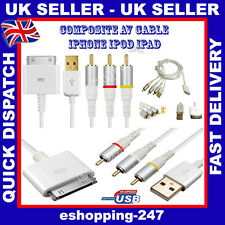 RCA Composite Audio Video to TV USB Charger White Cable for Apple iPhone 3 / 4
