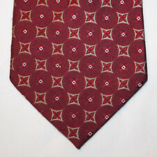 """NEW 60"""" Grant Thomas Silk Neck Tie Red with Beige and White Pattern 1297"""