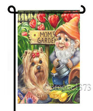 YORKIE painting GARDEN FLAG Dog Art Yorkshire Terrier puppy GNOME tulips FERNS