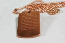 LORDS PRAYER OUR FATHER PRAYER RELIGION SOLID COPPER DOG TAG PENDANT NECKLACE