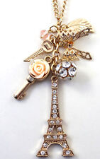 NWT Forever 21 Gold Chain Key Rose Bow Rhinestone Eiffel Tower Pendant Necklace