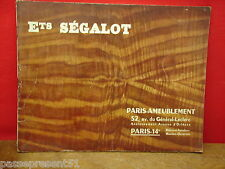 Ancien catalogue, Ets SEGALOT, mobilier 1930 - 50