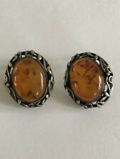 Amber And Sterling Earrings