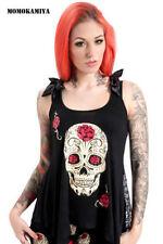 Waist Length Crew Neck Skull Petite Tops & Shirts for Women
