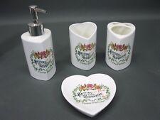 Edles Porzellan Waschset Bad Seiffenschale Zahnputzbecher Bürstenständer 12 cm