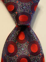 ERMENEGILDO ZEGNA Men's 100% Silk Necktie ITALY Luxury Geometric Blue/Red EUC
