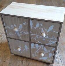 Mini drawers Wood Bird print 22cm Square Christmas gift New boxed