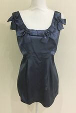 Basque Ladies Sleeveless Blouse Top Bow Front Metalic Blue Fabric Size 16