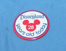 """RARE VINTAGE DISNEYLAND 28 YEARS OLD TODAY 1983 PIN BACK BUTTON 2 1/4"""""""