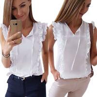 Women Ruffle Frill Sleeveless T-Shirts Lady Summer Lace Up Vest Tank Top Blouse