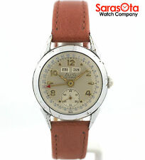Vintage Alsta Day/Date/Month 17 Jewels Brown Leather Hand Winding Wrist Watch